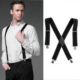 50MM Adjustable Grid Plain Mens Braces Suspenders Heavy Duty Trouser Elastic UK