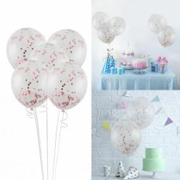 5pcs 12 Foil Latex Confetti Balloon Shower Wedding Birthday Hen Party-Rose gold