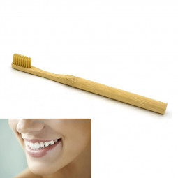 Eco Friendly Bamboo Round Handle Toothbrush Nylon Soft Hair Adult Reuseable Toothbrush - Brown