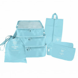 7pcs Waterproof Travel Storage Bags Clothes Packing Cube Luggage Organiser Pouch - Blue