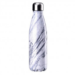 500ML Marble Pattern Water Flask Stainless Steel Double Wall Vacuum Insulated Bottle - White
