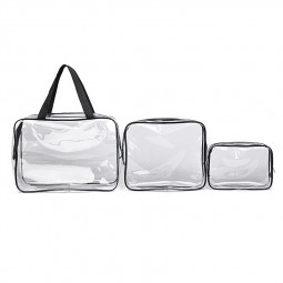 Travel Transparent Cosmetic Bag PVC Zipper Clear Makeup Bags Wash Bag - Black