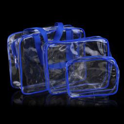 Travel Transparent Cosmetic Bag PVC Zipper Clear Makeup Bags Wash Bag - Blue