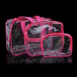 Travel Transparent Cosmetic Bag PVC Zipper Clear Makeup Bags Wash Bag - Rose Red