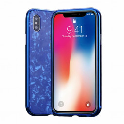 Magnetic Absorption Marble Tempered Glass Case Coverlass Cover Marble iPhone X - Blue
