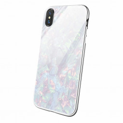 Magnetic Absorption Marble Tempered Glass Case Coverlass Cover Marble iPhone XS - White