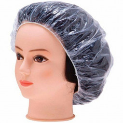 100PCS Elastic Clear Bathing Hair Care Protector Hat Disposable Shower Cap - Transparent