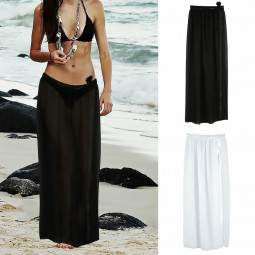 Bikini Cover Up Wrap Women Swimwear Sheer Beach Maxi Wrap Skirt Sarong - Black