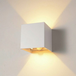 LED Wall Light Outdoor Indoor UP-down Wall Spot Facade Lamp Spotlight Spot Sconce - White Shell Warm Light