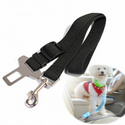 Dog Safety Seat Belt For Car Van Lock Adjustable Pet Lead - Black