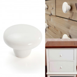 38mm Ceramic Single Hole Cupboard Handles Drawer Pulls Kitchen Cabinet Knobs - White