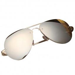 Vintage Retro Women Rose Gold Designer Large Mirrored Sunglasses UV400 - Silver