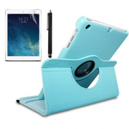 360 Degree Rotating Flip Case with Stylus Pen and Screen Film for iPad mini 2/3 - Light Blue