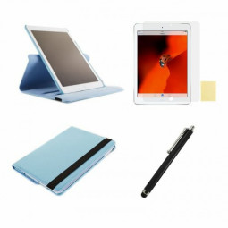 360 Rotation Case + Screen Film + Touch Screen Pen For iPad 5(Air) - Light Blue