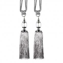 1 Pair Tassel Curtain Tiebacks with Crystal Ball - Silver