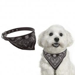 Adjustable Pet Neck Scarf Bandana With Collar Neckerchief - Size S Black