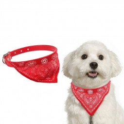 Adjustable Pet Neck Scarf Bandana With Collar Neckerchief - Size S Red