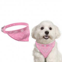 Adjustable Pet Neck Scarf Bandana With Collar Neckerchief - Size S Pink