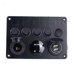 5 Gang Campervan RV 12V LED Light Switch Control Panel Voltmeter USB Charger CW - Blue