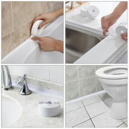Caulk Tape Strip Bathroom Kitchen Self Adhesive Sealant Tape Edge Sink Wall 2.2x3.2cm - White