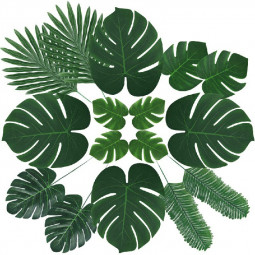60pcs 6 kinds Tropical Artificial Palm Leaves Hawaiian Luau Jungle Beach Theme Party Decor