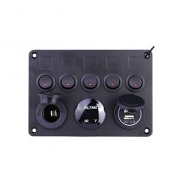 5 Gang Campervan RV 12V LED Light Switch Control Panel Voltmeter USB Charger CW - Red