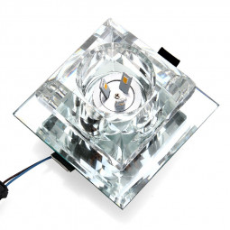 3W Luxury Crystal LED Grille Roof Spolight Square Lights - White