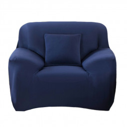 Polyester Spandex Fabric 1-Piece Stretch Slipcover for 1-Seat Sofa - Blue
