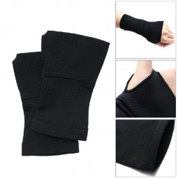 One Pair Sports Hand Wrist Brace Support Sleeve Compression Bandage Black - M