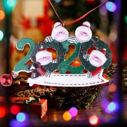 Resin Christmas Tree Ornament 2020 Quarantine Family Xmas Lockdown Decoration DIY name - 4 Heads