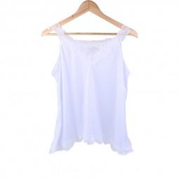 Women Boho Vest Top Cami Shirt Ladies Plus Size Loose Fit White Lace Blouse - 2XL