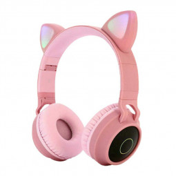 Wireless Cat Ear Bluetooth 5.0 Stereo Bass Headset LED Lights Earphone for Adults - Pink