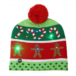 Christmas LED Light Winter Warm Beanie Cap New Year Party Santa Knitted Hat Decoration for Adult - Gingerbread Man