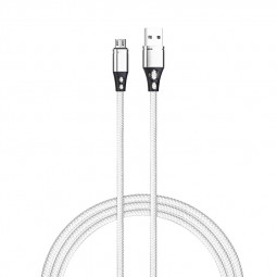 Nylon Braided Alloy Micro USB Charger Cable for Android Cellphone Devices - Silver