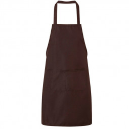 Plain Unisex Cooking Catering Work Apron Tabard with Twin Double Pocket - Brown