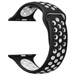 38mm Soft Silicone Replacement Band for Apple Watch Series 2 Series 1 - Black + White