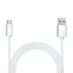 25CM Knit Braided High Quality Type C Data Cable USB Charger for Macbook Samsung S8 - Silver