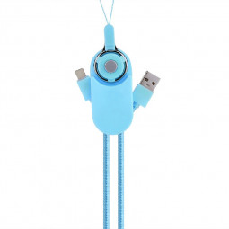 Double-sided USB Cable 2-in-1 Micro USB 8pin Charge Cable for iPhone X 8 Samsung - Blue