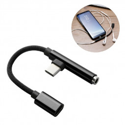 0.15M 90 Degree Braided USB Type C to 3.5mm Earphone Jack Audio Charge Cable Adapter - Black