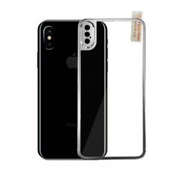 9H Hardness Shockproof 3D Metal Back Tempered Glass Protector Guard for iPhone X/XS - Silver