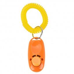 Dog Puppy Pet Clicker Keyring Teaching Tool Obedience Training Keyring Wrist UK - Orange