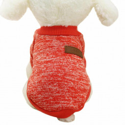 Pet Coat Dog Jacket Winter Clothes Puppy Knitted Sweater Clothing Coat Apparel Size M - Red