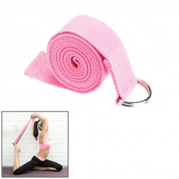 D-Ring Cotton Yoga Stretch Strap Training Belt Fitness Exercise Gym Equipment - Pink