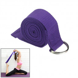 D-Ring Cotton Yoga Stretch Strap Training Belt Fitness Exercise Gym Equipment - Purple