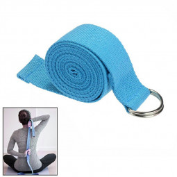D-Ring Cotton Yoga Stretch Strap Training Belt Fitness Exercise Gym Equipment - Blue