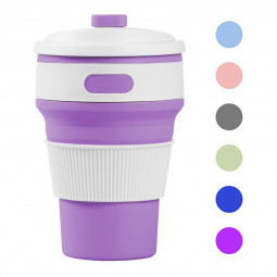 Collapsible Silicone Telescopic Water Bottle Foldable Portable Leakproof Cup - Purple