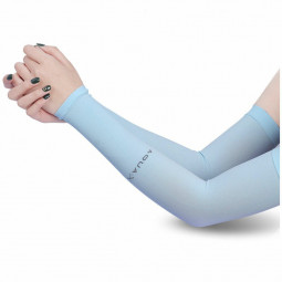 1 Pair Cooling Warmer UV Sun Protection Arm Sleeves Cover for Outdoor Sports - Blue