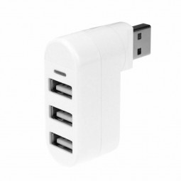 3 Ports USB 2.0 Mini Rotate Cable Splitter Hubs Adapters for PC Notebook - White