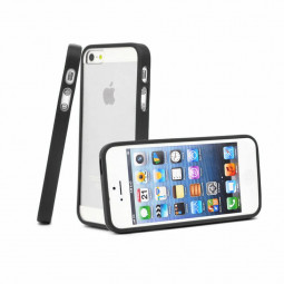 TPU Edge + PC Hard Back Case Cover for iPhone 5C - Black