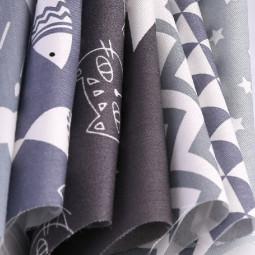 DIY 7PCS Bundles Fabric Fat Quarters Cotton Floral Dress Craft Quilt Sewing 50 x 50cm - Grey